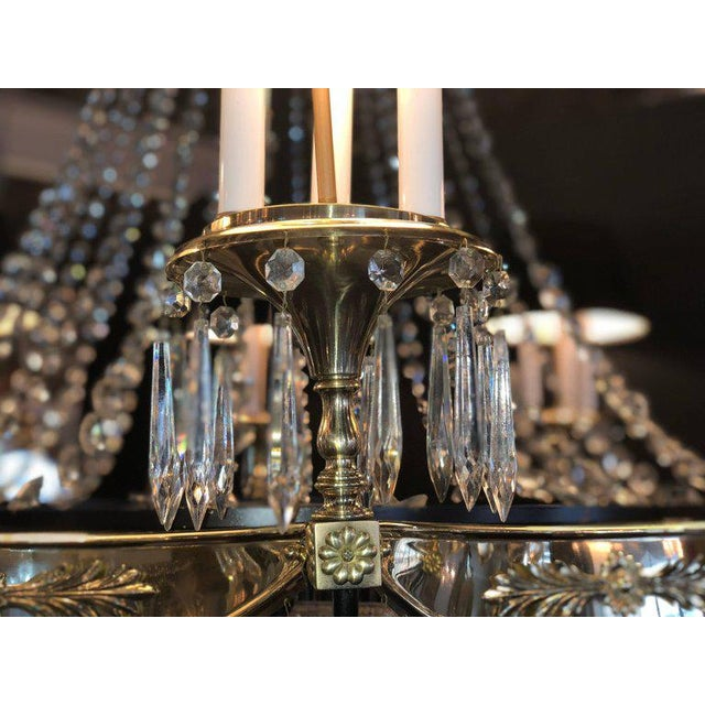 Brass A Pair of Art Deco Palatial Eight Arm Ebony and Brass Chandeliers w Shades For Sale - Image 7 of 12