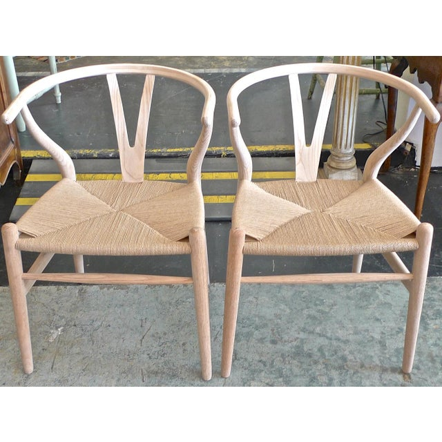 Contemporary Contemporary Danish 1960s Style Wishbone White Oak Riff Wood Arm Chairs - Set of 6 For Sale - Image 3 of 13