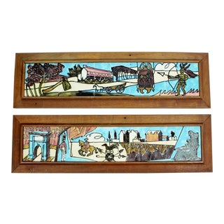 Mid Century Modern Harris Strong Americana Framed Ceramic Wall Sculptures - a Pair For Sale