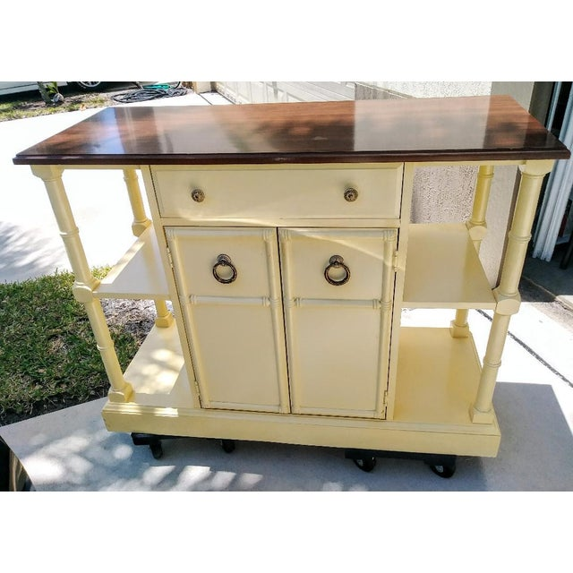 Wood Vintage Faux Bamboo Pam Beach Regency Center Island Buffet Cabinet For Sale - Image 7 of 7