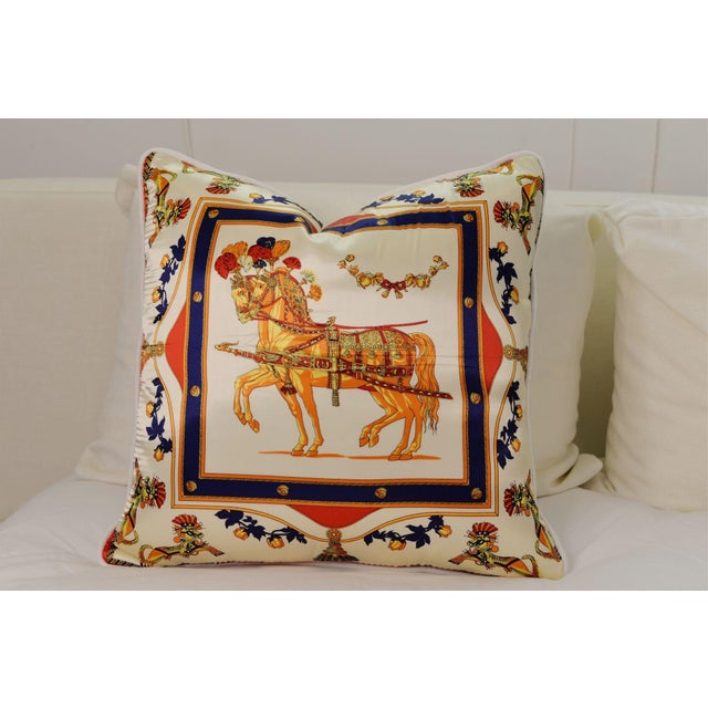 Orange Horse Silk Pillow For Sale - Image 4 of 4