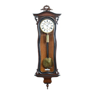 Walnut Frame Case Glass One Weight Regulator Wall Clock For Sale