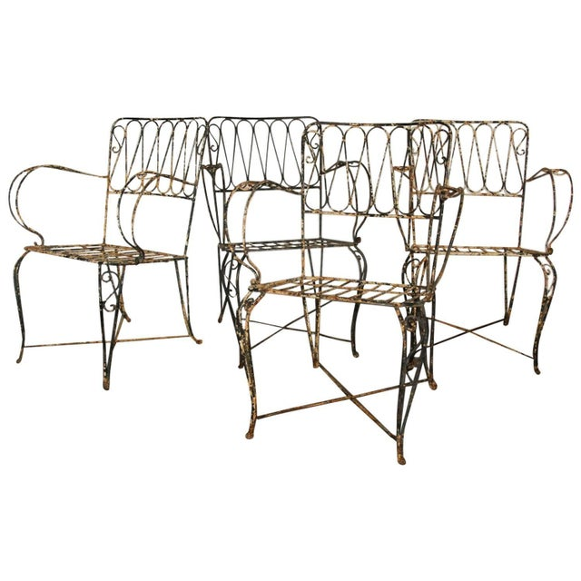 French Forged Armchairs Style of Raymond Subes, 1940 - Set of 4 For Sale - Image 5 of 5