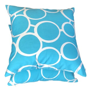 Trina Turk Schumacher Turquoise Indoor/Outdoors Pillows - A Pair For Sale