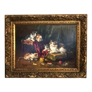 Antique French Oil Painting of Mischievous Cats at Play by Brunet De Neuville, Circa 1880. For Sale