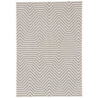"Jaipur Living Prima Indoor/ Outdoor Geometric Light Gray/ Black Area Rug - 7'6"" X 9'6"""