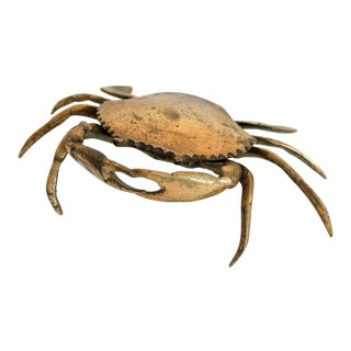 Lidded Brass Crab Ashtray