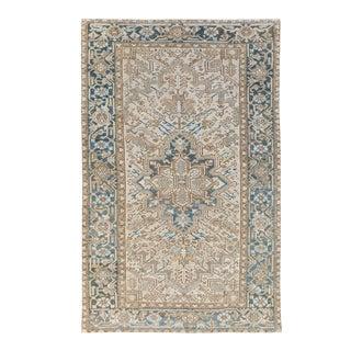 Antique Persian Heriz Handmade Geometric Medallion Beige Wool Rug For Sale