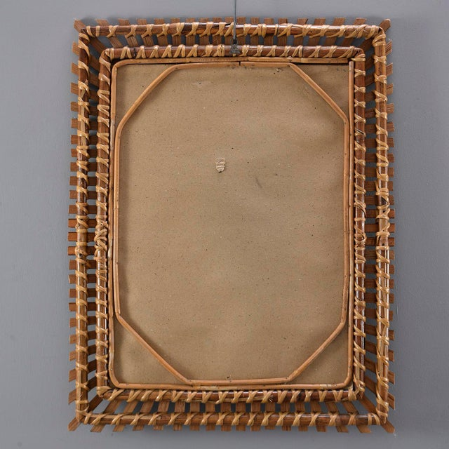 Brown Mid-Century Rectangular Bamboo Framed Mirror For Sale - Image 8 of 10