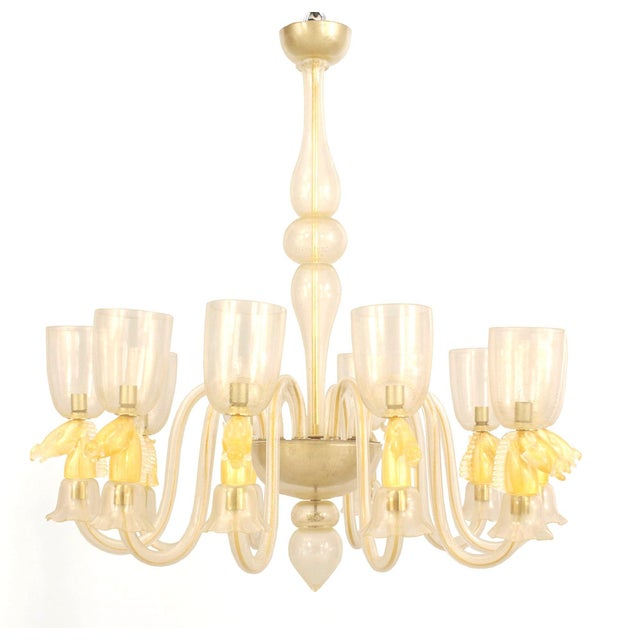 1940's Italian Gold-Dusted Murano Glass Chandelier Attributed to Seguso For Sale In New York - Image 6 of 6