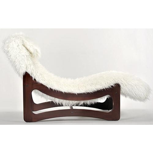 White Mongolian Faux Fur Chaise Lounge - Image 2 of 6