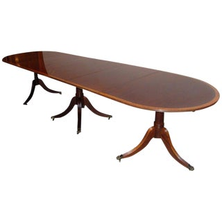 Banded Mahogany Georgian Style Triple Pedestal Dining Table For Sale