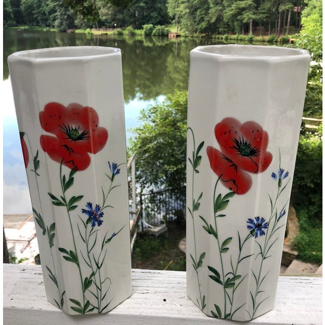 1960's Italian Hand Painted Ceramic Octagonal Vases - a Pair For Sale - Image 11 of 11