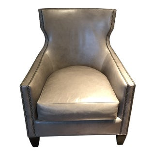 Contemporary Gray Leather Chair For Sale