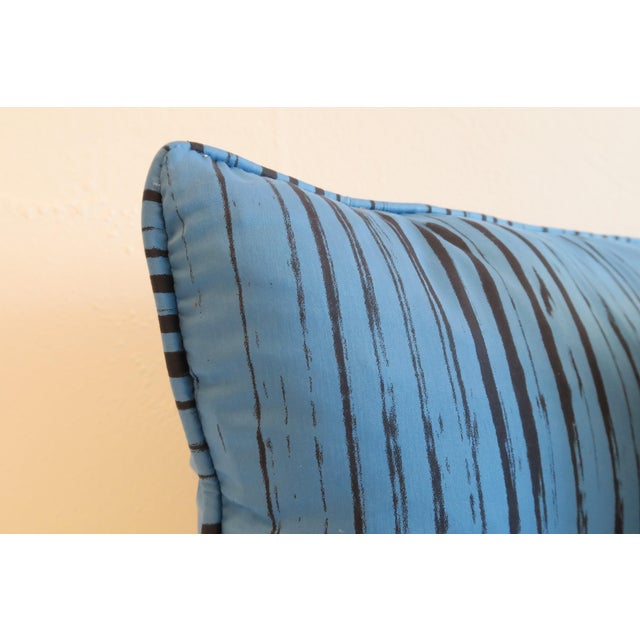 Custom Blue Brushtroke Pattern Pillows- a Pair For Sale - Image 4 of 4