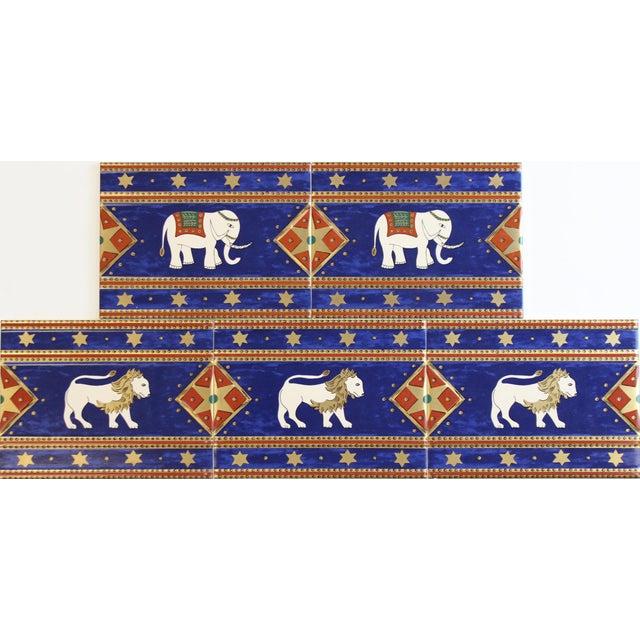 "5 Villeroy & Boch elephant enamel tiles made in France. Dimensions: 5 7/8""H x 7 7/8""W"