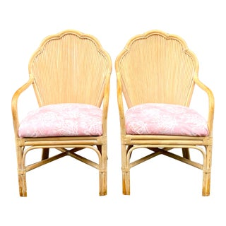 Vintage Coastal Bamboo Fan Back Chairs - a Pair For Sale
