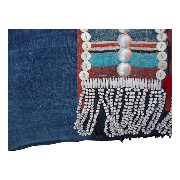 Beaded Hmong Fragment Indigo Pillow - Image 4 of 5