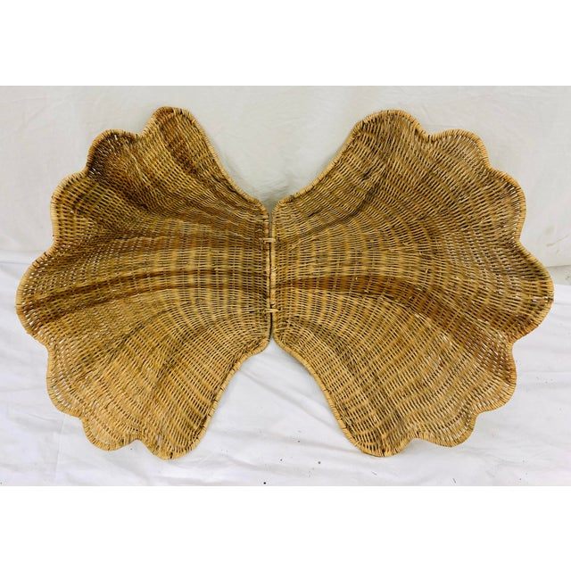 Vintage Woven Wicker Clam Shell Basket For Sale - Image 9 of 13