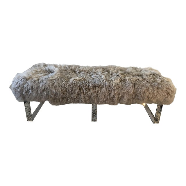 Gray Wool Furry Bench For Sale