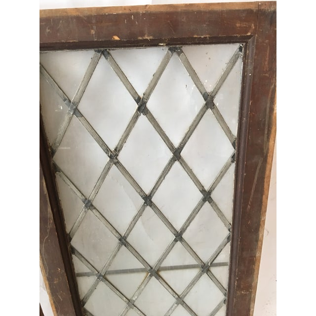 1920s Antique Upstate New York Leaded Glass Window Panels- a Pair For Sale - Image 4 of 7
