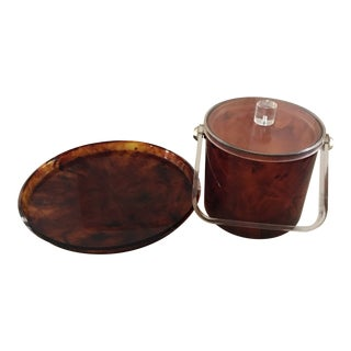 1960s Art Deco Tortoise Ice Bucket and Tray - 2 Pieces For Sale