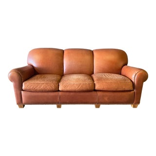 Vintage Hancock and Moore Modern Leather Sofa For Sale