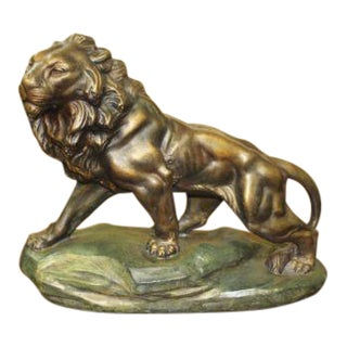 Monumental French Art Deco Terra Cotta Sculpture Lion By J.CARTIER ,Circa 1940's