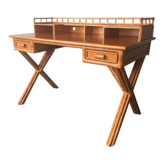 Campaign Style Bamboo Writing Desk by Palecek For Sale