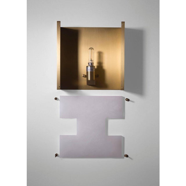 Orphan Work Modern Contemporary 002a Sconce in Brass and Alabaster by Orphan Work For Sale - Image 4 of 5