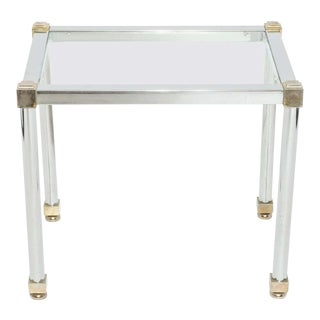 Maison Jansen Style Modern Metal and Glass Side Table For Sale