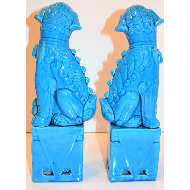 1980s Chinese Turquoise Glazed Large Foo Dog Figurines - a Pair For Sale In Houston - Image 6 of 9