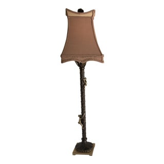 Bronze Monkey Palm Tree Table Lamp For Sale