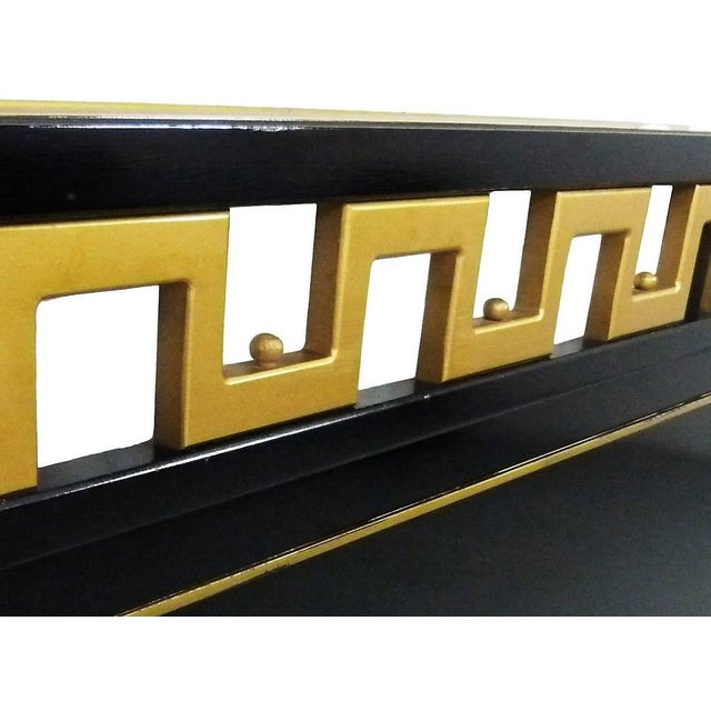 Mid-Century Modern Greek Key Black & Gold Lacquered King Headboard For Sale - Image 3 of 7