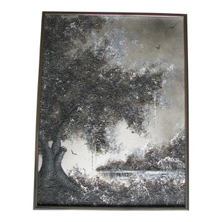 Vintage Mid-Century Chester Lewis (Perez) Original Tree Oil Painting For Sale