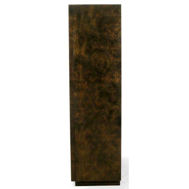 Mid-Century Modern Mastercraft Burl and Acid Etched Brass Wardrobe Cabinet For Sale - Image 3 of 9