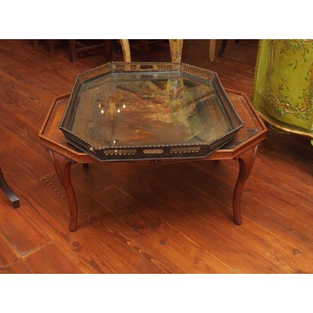 19c. Painted Tray as a Coffee Table For Sale - Image 10 of 11