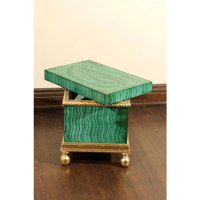 Hollywood Regency Faux Malachite Box For Sale - Image 4 of 6