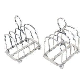 Vintage English Sheffield Silver Toast Racks - Set of 2 For Sale