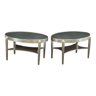 Two Art Deco Style Silver Leaf Side Tables in the Style of Ruhlman For Sale