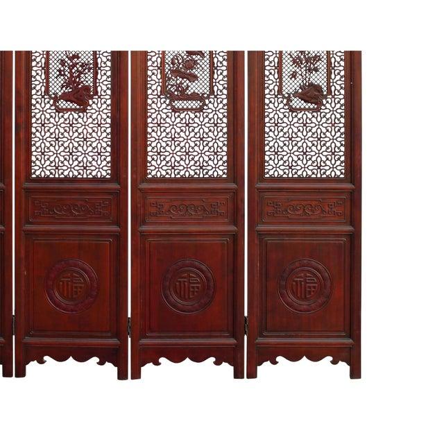 Brown Chinese Reddish Brown Stain 4 Seasons Flower Wood Panel Floor Screen For Sale - Image 8 of 13