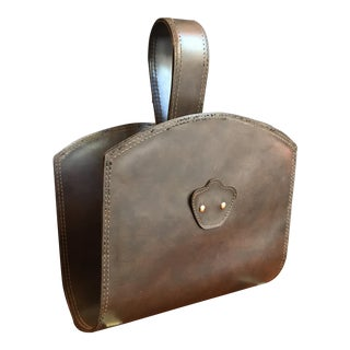 Swedish Leather & Brass Magazine Rack, 1950s For Sale