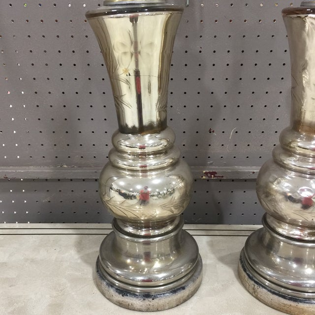 Mid-Century Modern Mercury Glass Table Lamps - A Pair For Sale - Image 3 of 7