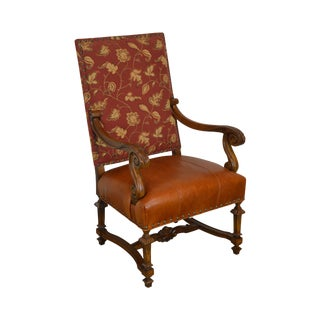 Lillian August Drexel Heritage French Louis XIV Style Armchair W/ Leather Seat For Sale
