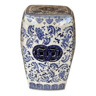 Vintage Porcelain Blue and White Garden Seat For Sale