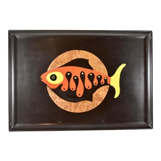 Mid-Century Couroc Swimming Fish Inlay Serving Tray For Sale