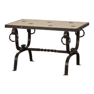 French Art Deco Period Iron Base and Tile Top Coffee Table, circa 1930 For Sale