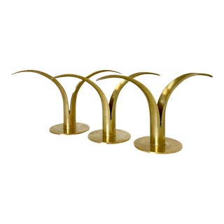 Ystad Metall Mid-Century Modern Brass Swedish Lily Candleholders For Sale