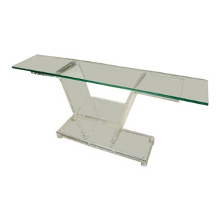 Mid-Century Lucite Console With Glass Top For Sale