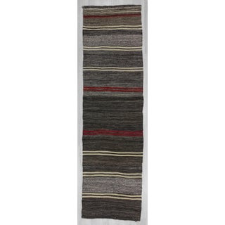 Handwoven vintage red black and gray striped Turkish kilim runner rug Preview